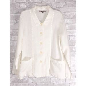 Flax   Women's Linen Jacket with Pockets Size M